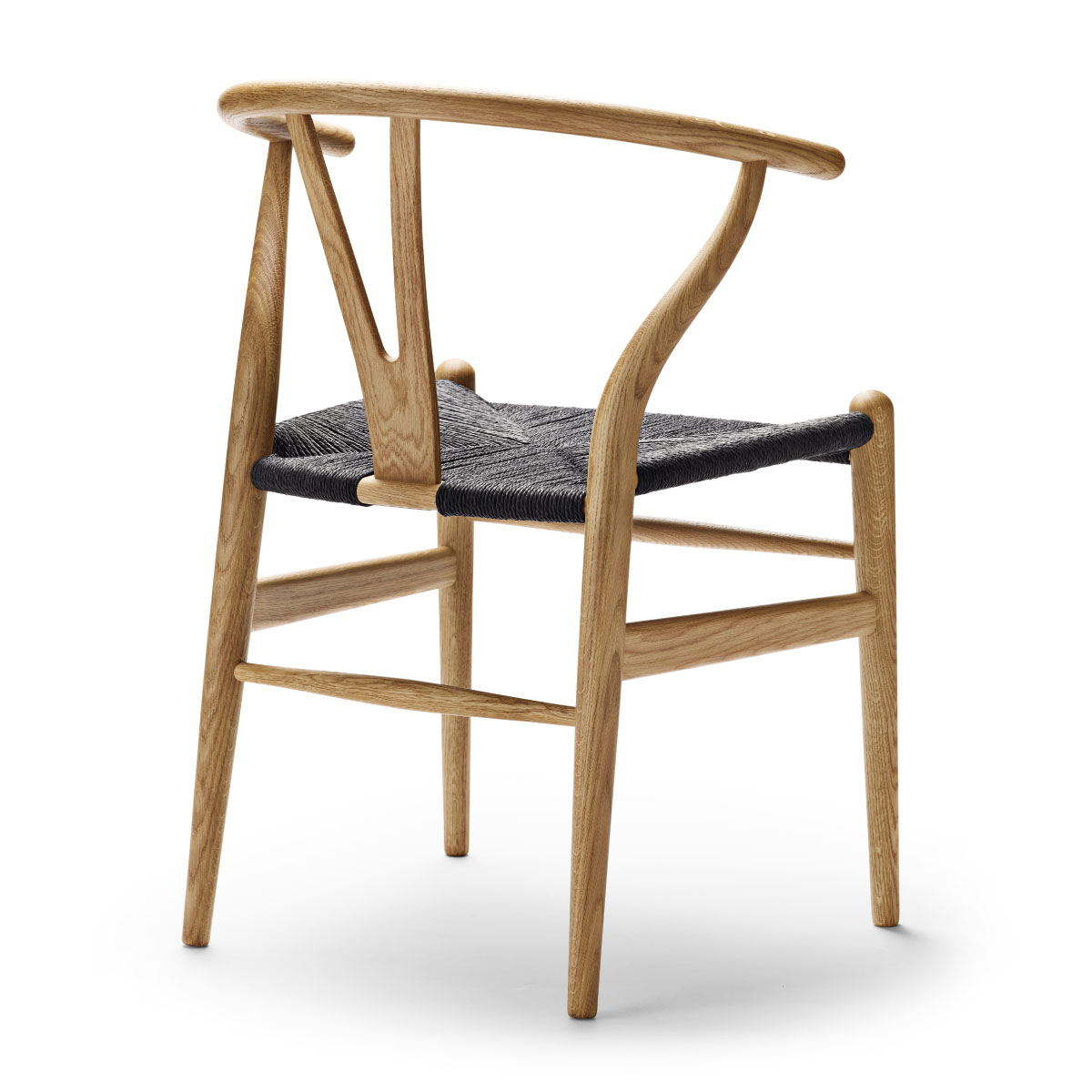 Ch24 Wishbone Chair Oak Oil Black Paper Cord Seat