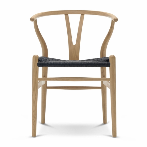 Carl Hansen & Son CH24 Wishbone Chair, Oak Soap, Black Paper Cord Seat