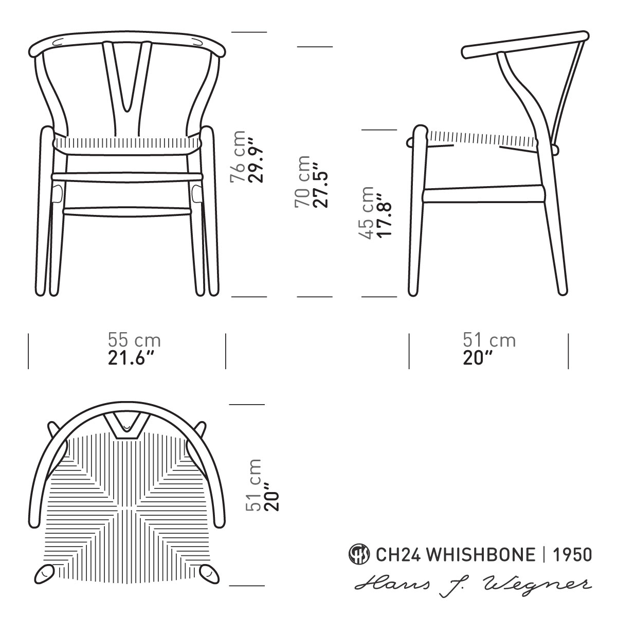 Wishbone Chair White Oak 129 Hans Wegner Style Black