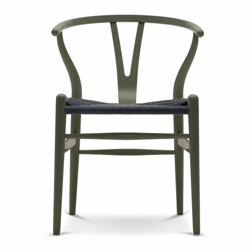 CH24 Wishbone Chair, Olive Green, Black Paper Cord Seat