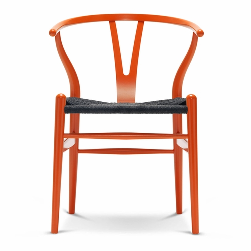 CH24 Wishbone Chair, Orange Red, Black Paper Cord Seat
