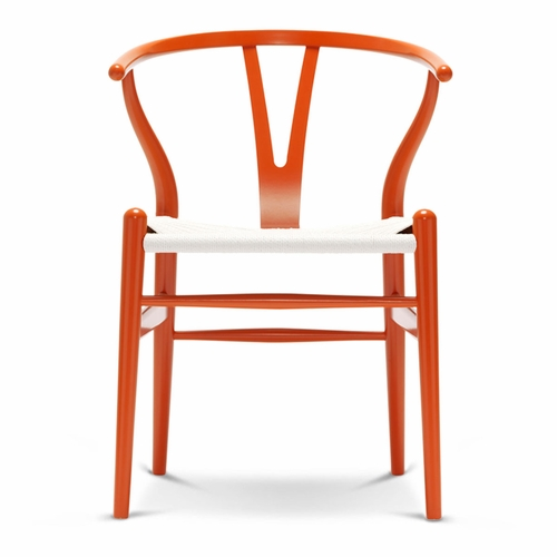 CH24 Wishbone Chair, Orange Red, White Paper Cord Seat