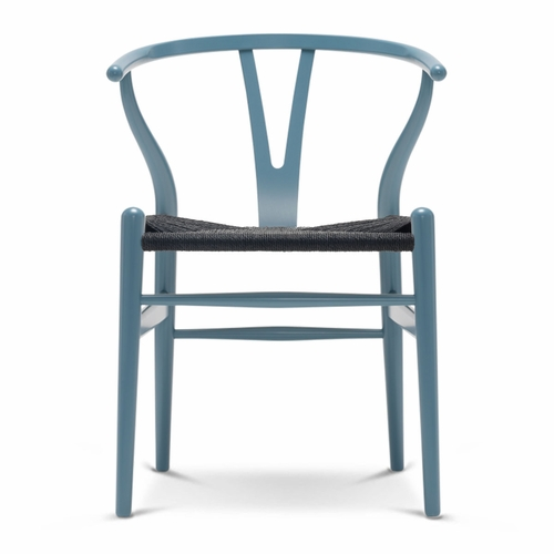 Carl Hansen & Son CH24 Wishbone Chair, Petrol Blue, Black Paper Cord Seat