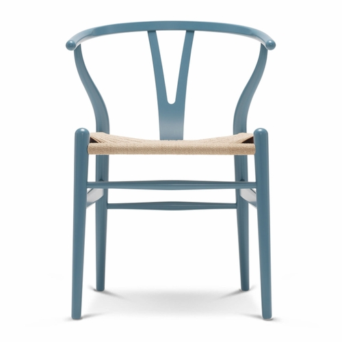 Carl Hansen & Son CH24 Wishbone Chair, Petrol Blue, Natural Paper Cord Seat