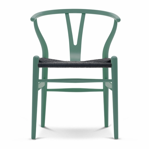 CH24 Wishbone Chair, Petrol Green, Black Paper Cord Seat