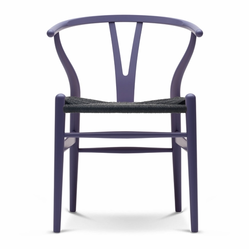 CH24 Wishbone Chair, Purple Blue, Black Paper Cord Seat