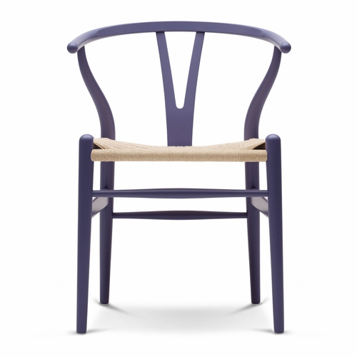 Carl Hansen & Son CH24 Wishbone Chair, Purple Blue, Natural Paper Cord Seat