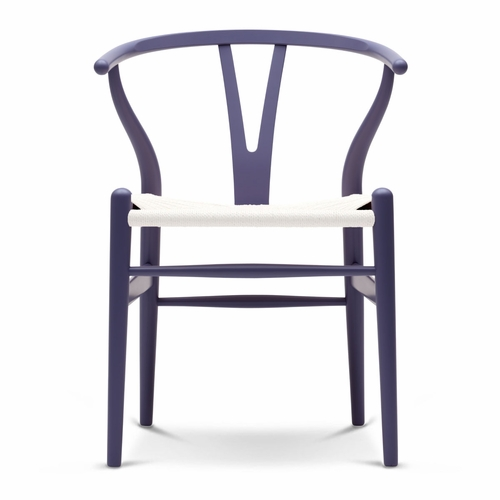 CH24 Wishbone Chair, Purple Blue, White Paper Cord Seat