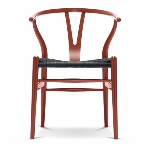 CH24 Wishbone Chair, Red Brown, Black Paper Cord Seat
