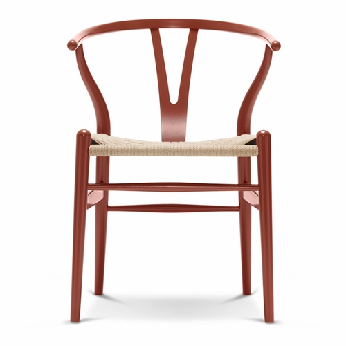 CH24 Wishbone Chair, Red Brown, Natural Paper Cord Seat