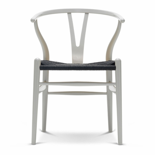 CH24 Wishbone Chair, Silver Grey, Black Paper Cord Seat
