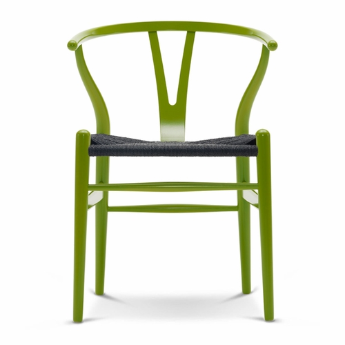 CH24 Wishbone Chair, Spring Green, Black Paper Cord Seat