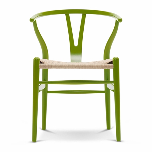 CH24 Wishbone Chair, Spring Green, Natural Paper Cord Seat