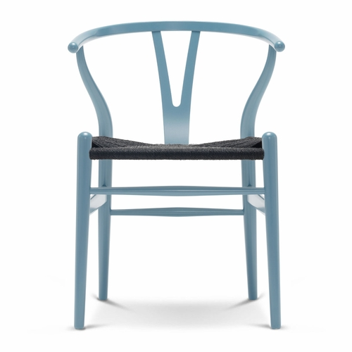 CH24 Wishbone Chair, Steel Blue, Black Paper Cord Seat