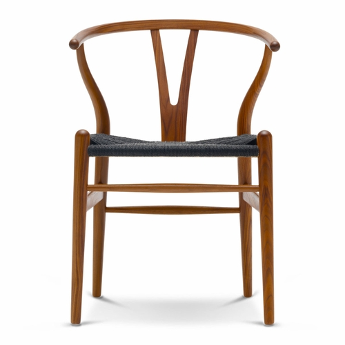 CH24 Wishbone Chair, Walnut Lacquer, Black Paper Cord Seat