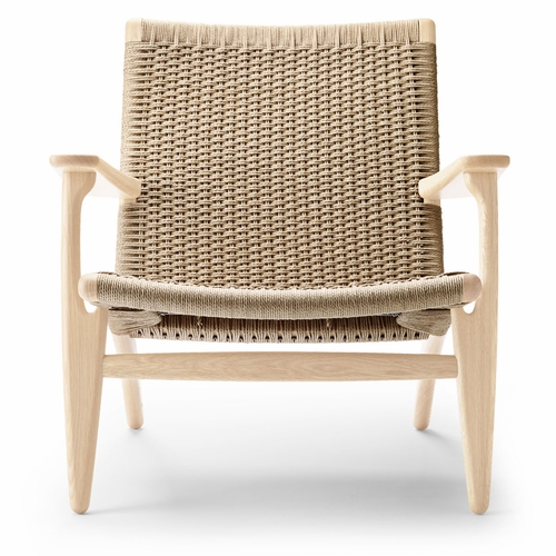 CH25 Easy Chair, Oak White Oil, Natural Papercord Seat