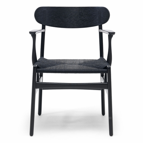 CH26 Dining Chair, Black Stained Oak, Black Paper Cord Seat