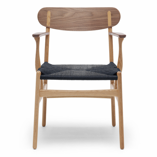 CH26 Dining Chair, Oak/Walnut Mix, Black Paper Cord