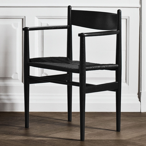 CH37 Dining Chair, Black Stained Oak, Black Paper Cord Seat