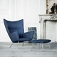 Hans Wegner CH445 Wing Chair & Footstool Set, Divina Melange 2 180 Fabric - Quick Ship