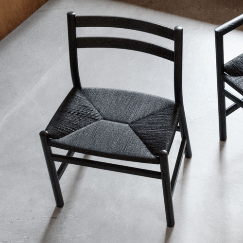 CH47 Dining Chair, Black Stained Oak, Black Paper Cord Seat