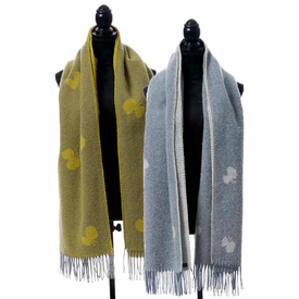 Choucho Brushed Merino and Lambs Wool Scarf with Fringe - 2 Colors - Click to enlarge