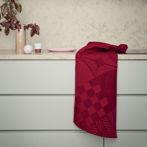 Christmas Rustic Tea Towel - Set of 2 Red & Gray