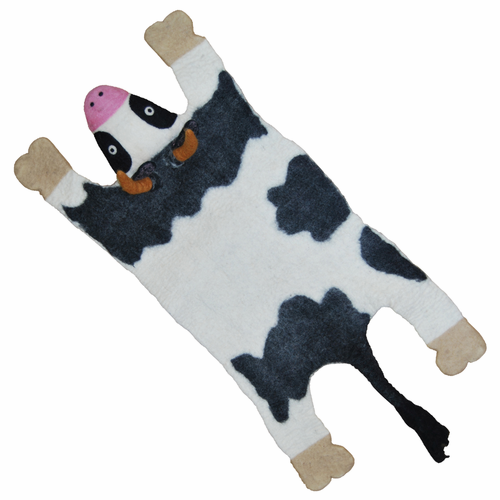 Cow Hand Felted Wool Animal Carpet