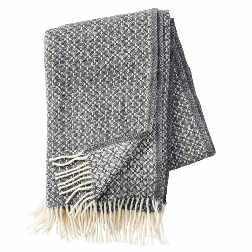 Dahlia Lambs Wool Throw, Grey