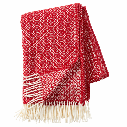 Dahlia Lambs Wool Throw, Red