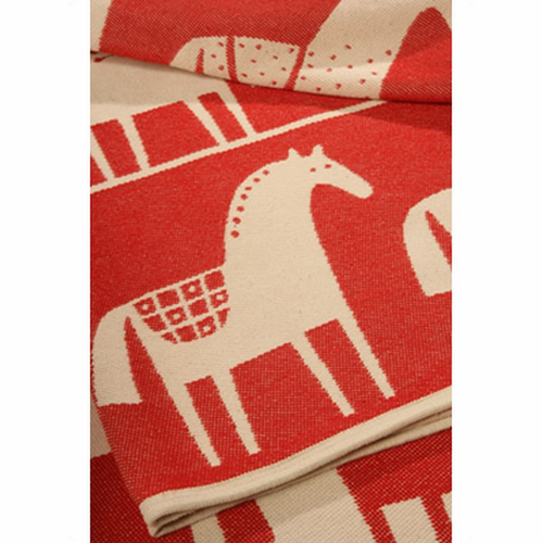 Dalahäst (Swedish Horse) Cotton Blanket
