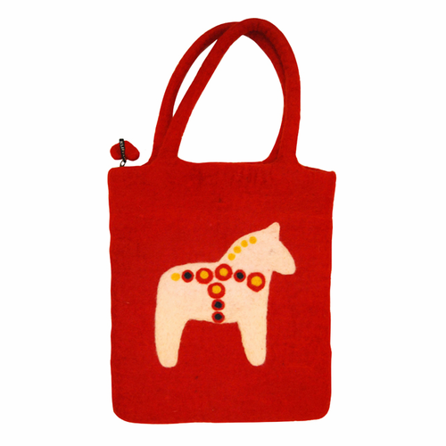 Dalahast (Swedish Horse) Felted Wool Bag