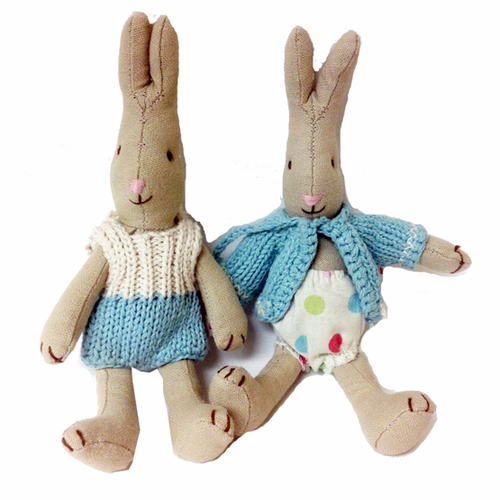 Danish Blue Knitted Baby Bunnies-Set of 2 - SOLD OUT