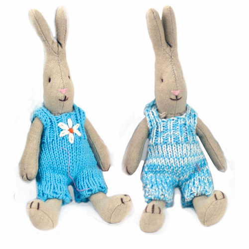Danish Bright Blue Knitted Baby Bunnies-Set of 2 - SOLD OUT