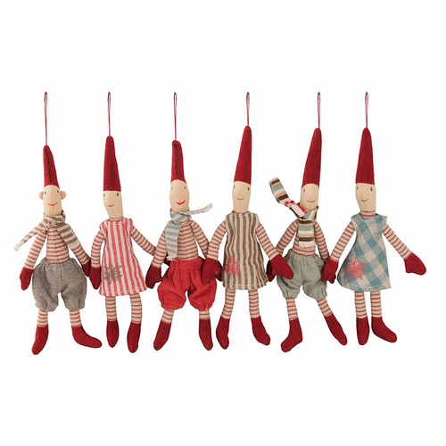 Danish Christmas Micro Pixie Hanging Ornaments - Set of 6 - Sold Out