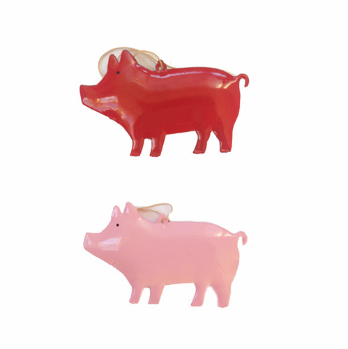 Danish Metal Pig Ornaments, Set of 2 (3 Left)