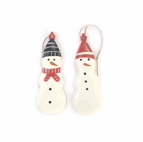 Danish Metal Snowmen Ornaments, Set of 2