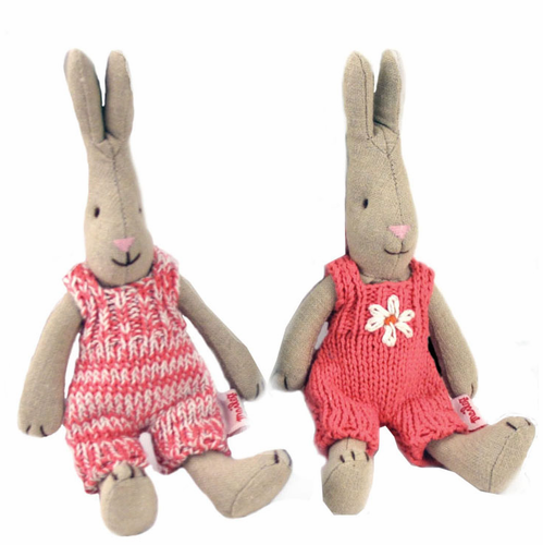 Danish Pink Knitted Baby Bunnies-Set of 2 - SOLD OUT