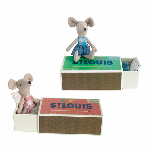 Danish Spring Mice Brother & Sister in a Box - Set of 2