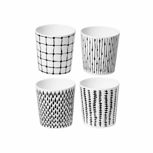 Design House (4) Bono Mugs w/out Handles (black/white) - SOLD OUT