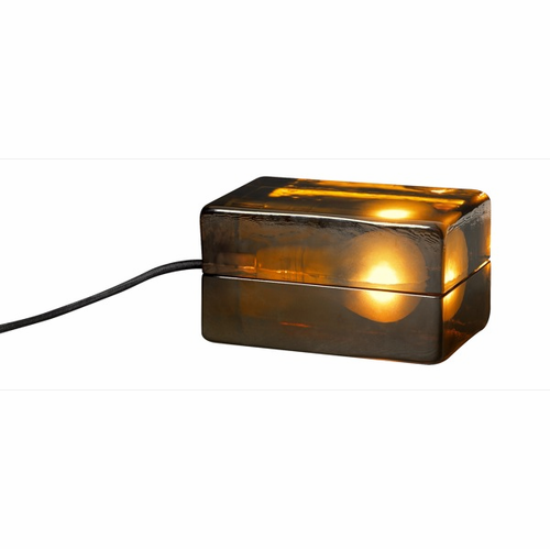 Design House Block Lamp Amber (Brown Cord)