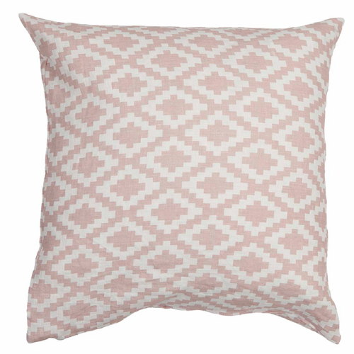 Diamond Linen Cushion Cover, Pale Pink