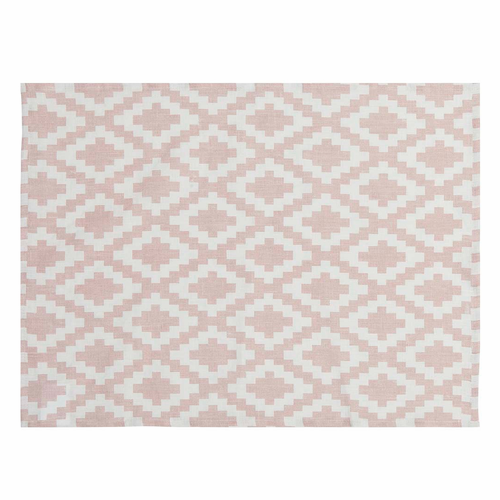 Diamond Linen Table Mat, Pale Pink