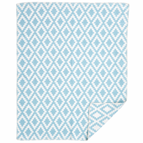 Diamonds Baby Organic Brushed Cotton Blanket, Turquoise