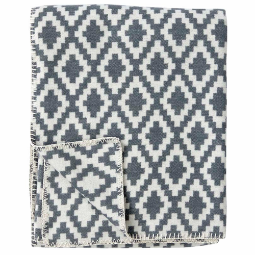 Diamonds Organic Brushed Cotton Blanket, Grey