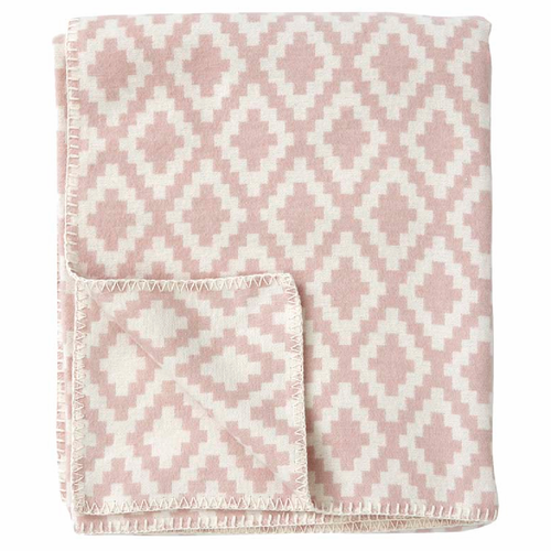Diamonds Organic Brushed Cotton Blanket, Pale Pink