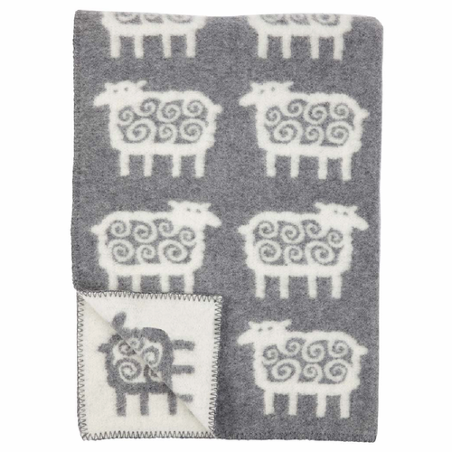 Klippan Far (Sheep) ECO Wool Children's Blanket, Grey