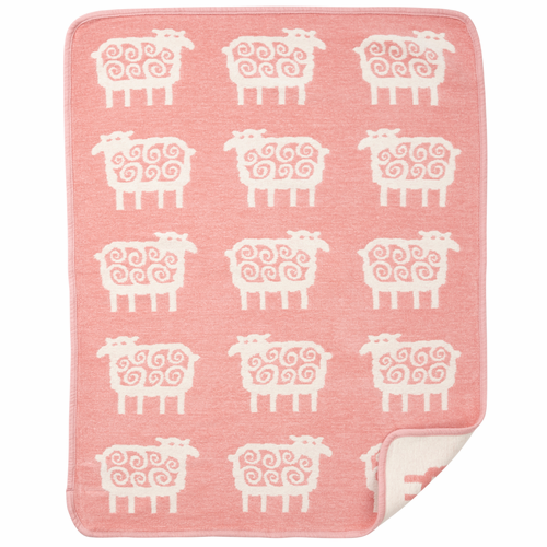 Klippan Far (Sheep) Organic Cotton Chenille Baby Blanket, Pink