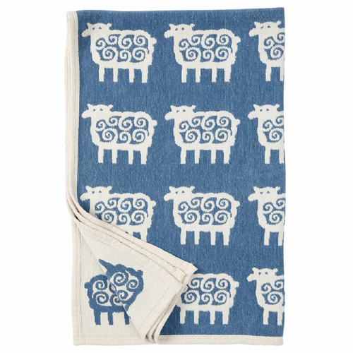 Klippan Far (Sheep) Organic Cotton Chenille Children's Blanket, Blue