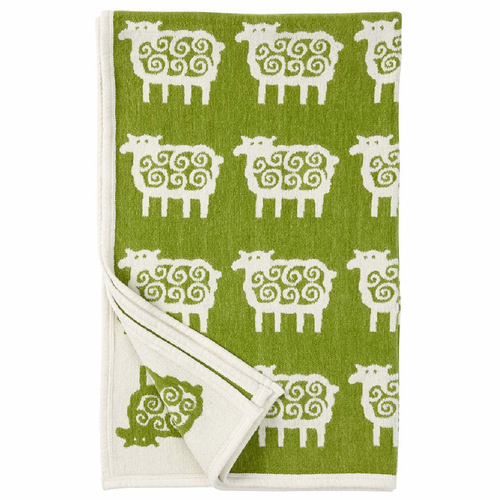 Far (Sheep) Organic Cotton Chenille Children's Blanket, Green